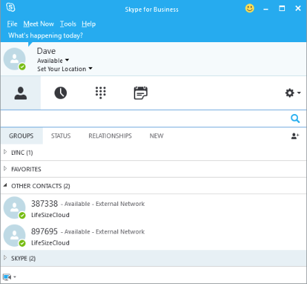 For point-to-point calls, add the Lifesize Cloud User ID to your Skype for Business clients Other Contacts list